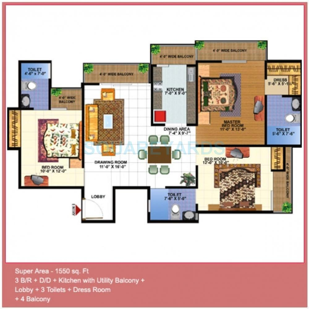 gardenia gardenia glamour apartment 3bhk 1550sqft1