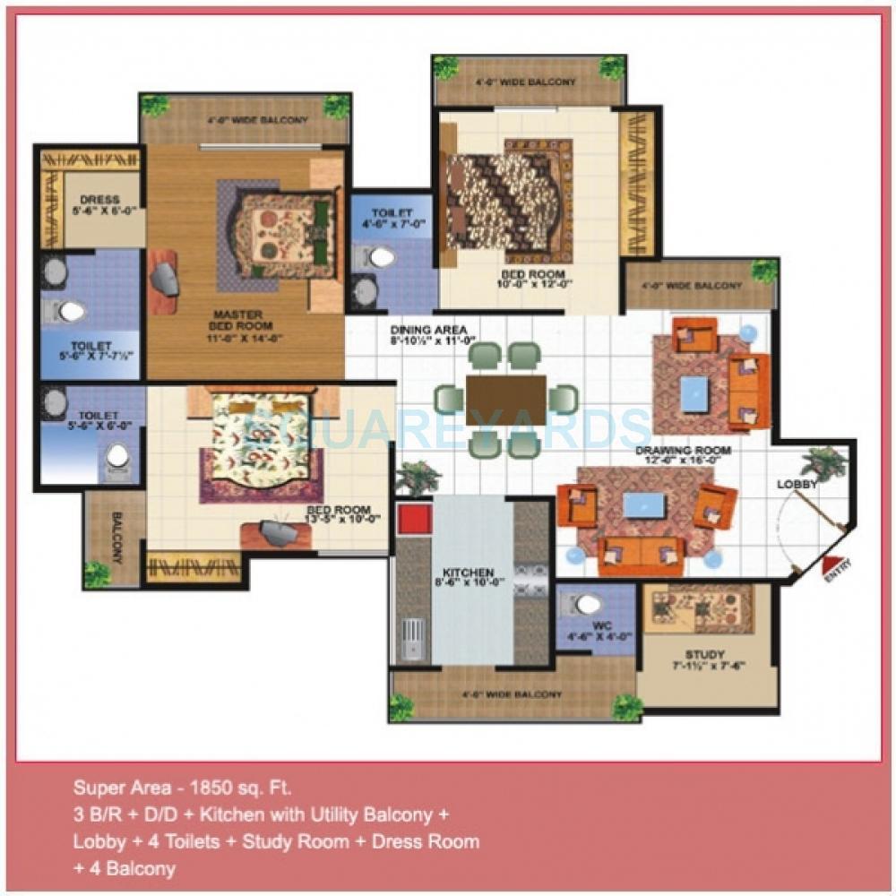 gardenia gardenia glamour apartment 3bhk 1850sqft1