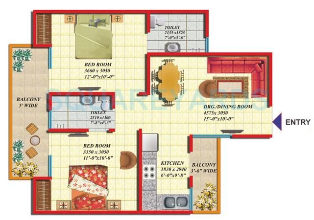 gaurs green vista phase ii apartment 2bhk 920sqft 1