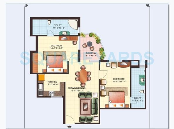 gaurs heights apartment 2bhk 1190sqft1