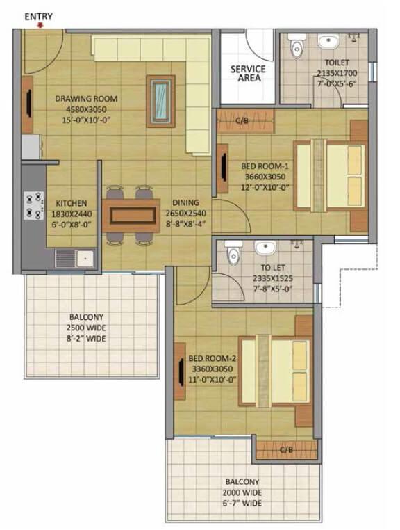 gaurs siddhartham apartment 2bhk 615sqft 1