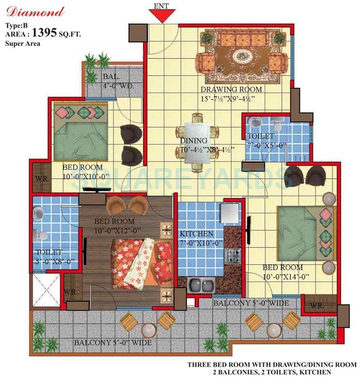himalaya legend apartment 3bhk 1395sqft 1