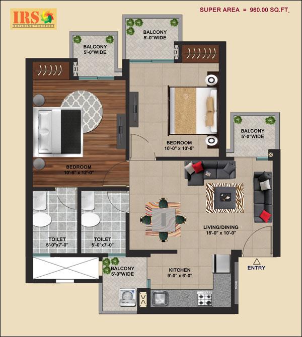 irs ishaan shristi apartment 2bhk 960sqft 1