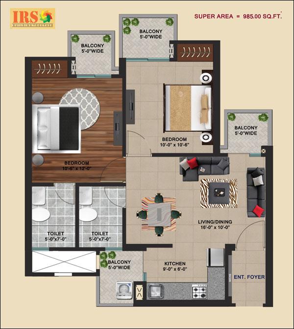 irs ishaan shristi apartment 2bhk 985sqft 1