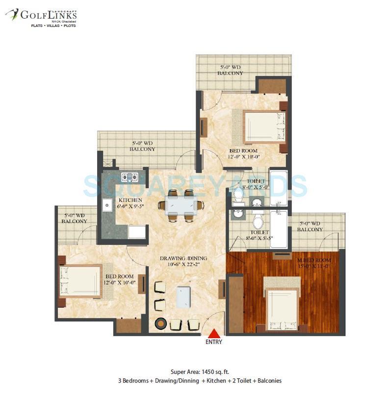 landcraft golflinks apartments apartment 3bhk 1450sqft 1