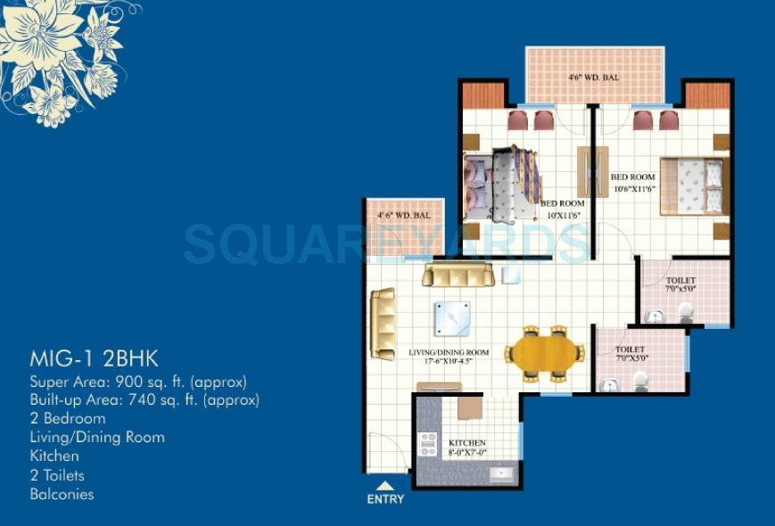 mahagun mahagunpuram apartment 2bhk 900sqft 1