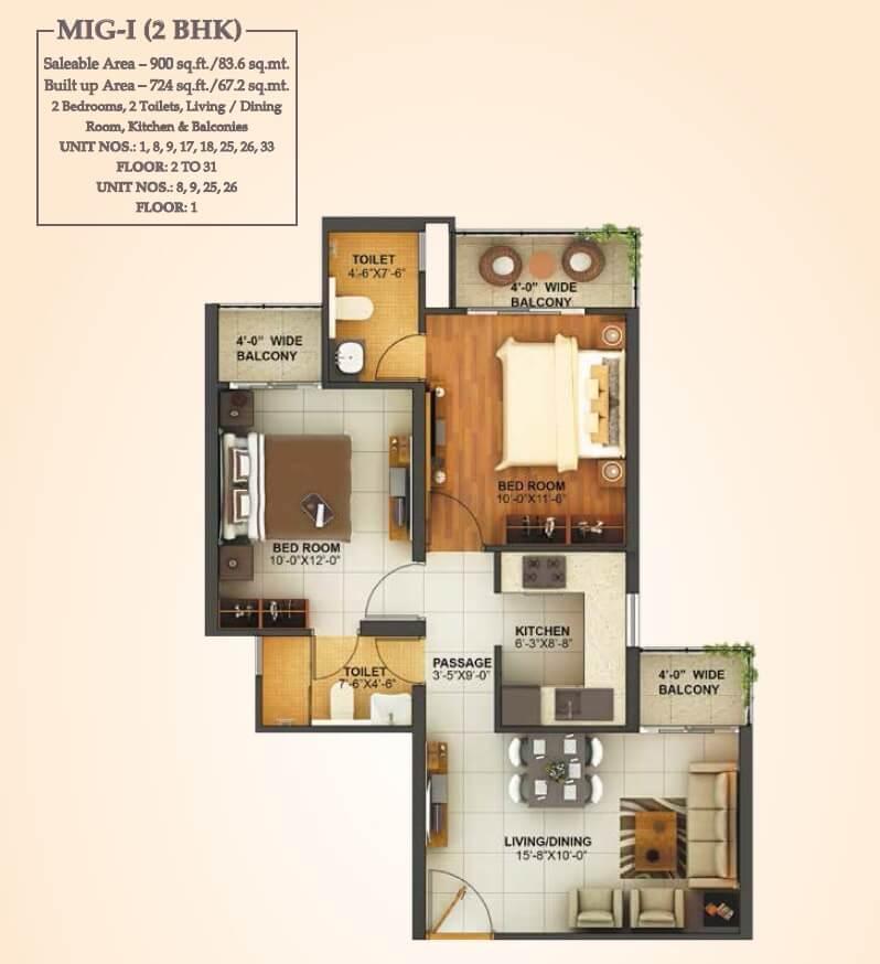 mahagun montage apartment 2bhk 900sqft 1
