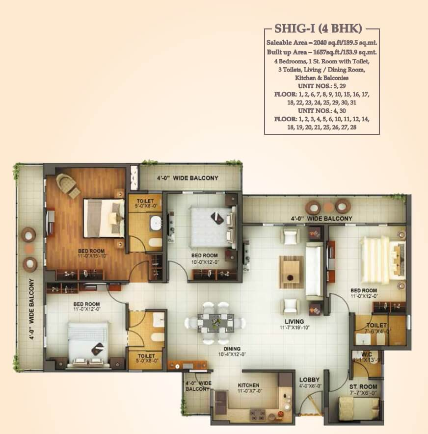 mahagun montage apartment 4bhk 2040sqft 1