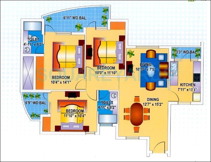 mapsko krishna apra gardens apartment 3bhk 1180sqft 1
