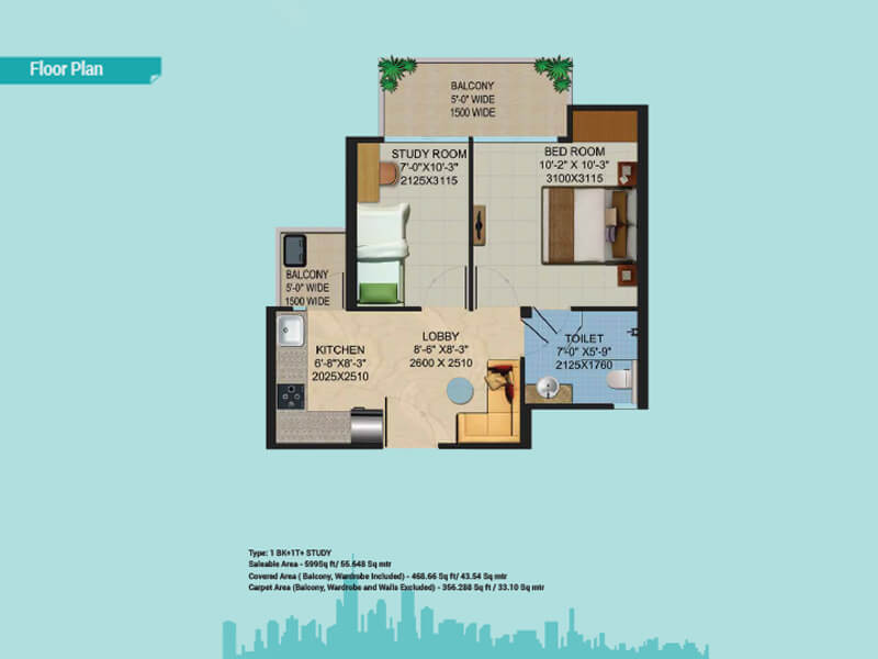 migsun roof apartment 1bhk st 599sqft 1