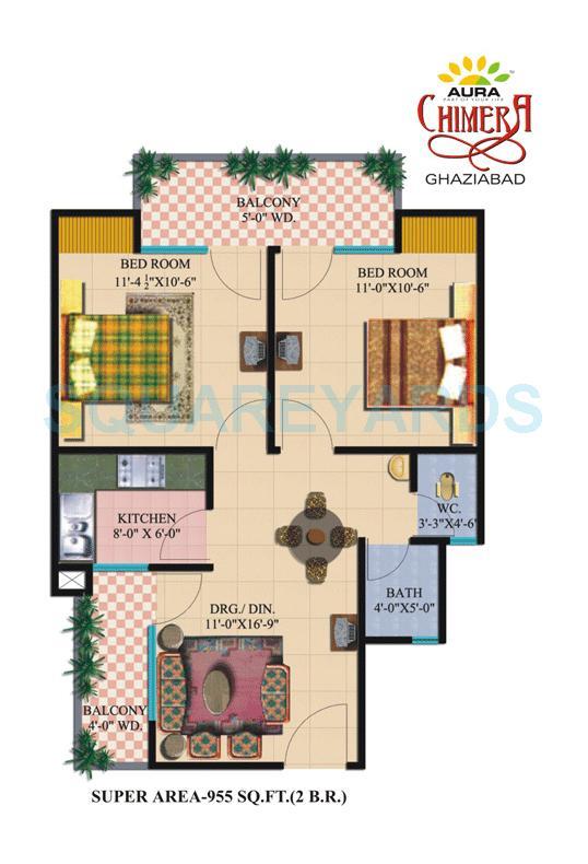 nitishree aura chimera apartment 2bhk 955sqft 1