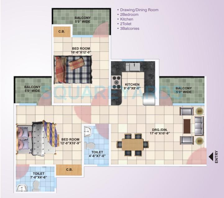 panchsheel primrose apartment 2bhk 1000sqft1
