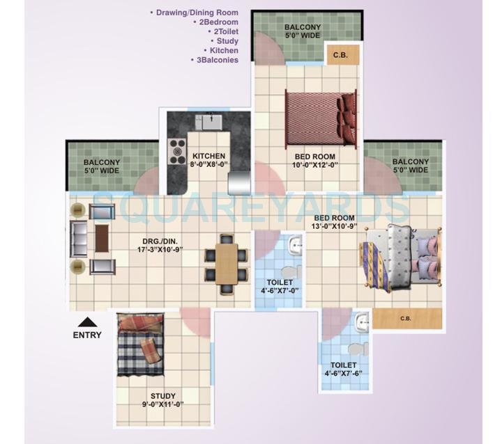 panchsheel primrose apartment 2bhk 1240sqft1