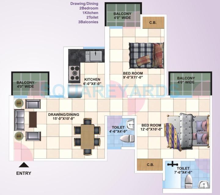 panchsheel primrose apartment 2bhk 815sqft1