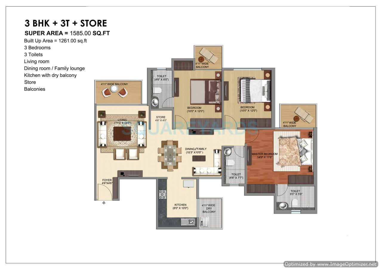 prateek grand city apartment 3bhk 1585sqft1