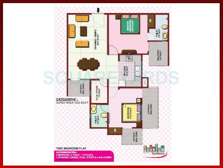 quantum colonisers quantum residency apartment 2bhk 1242sqft 1