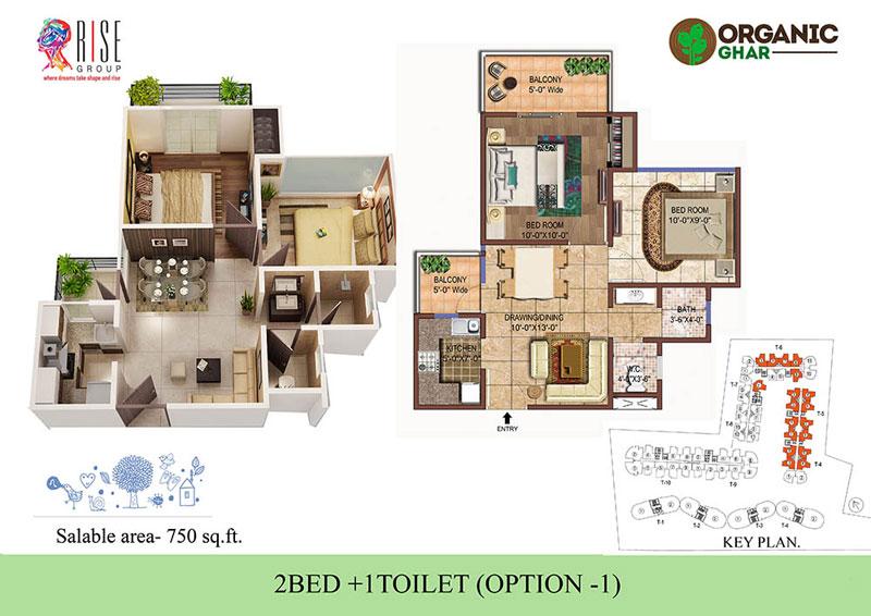 rise organic ghar apartment 2bhk 750sqft 1