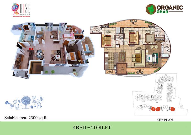 rise organic ghar apartment 4bhk 2300sqft 1