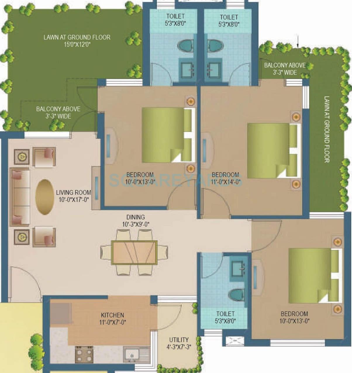 sare ebony greens apartment 2bhk 1100sqft1