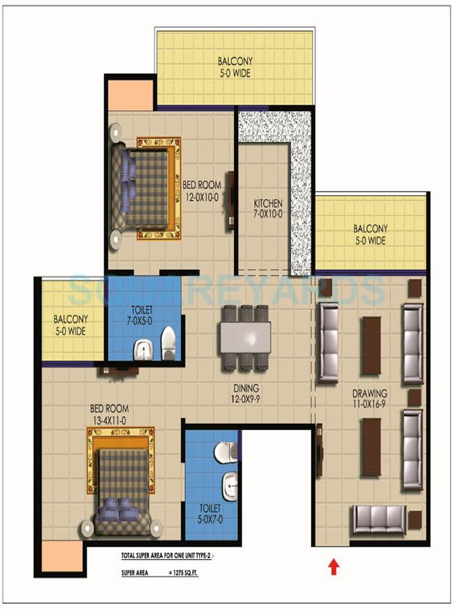 sarvottam ksn square apartment 2bhk 1275sqft1
