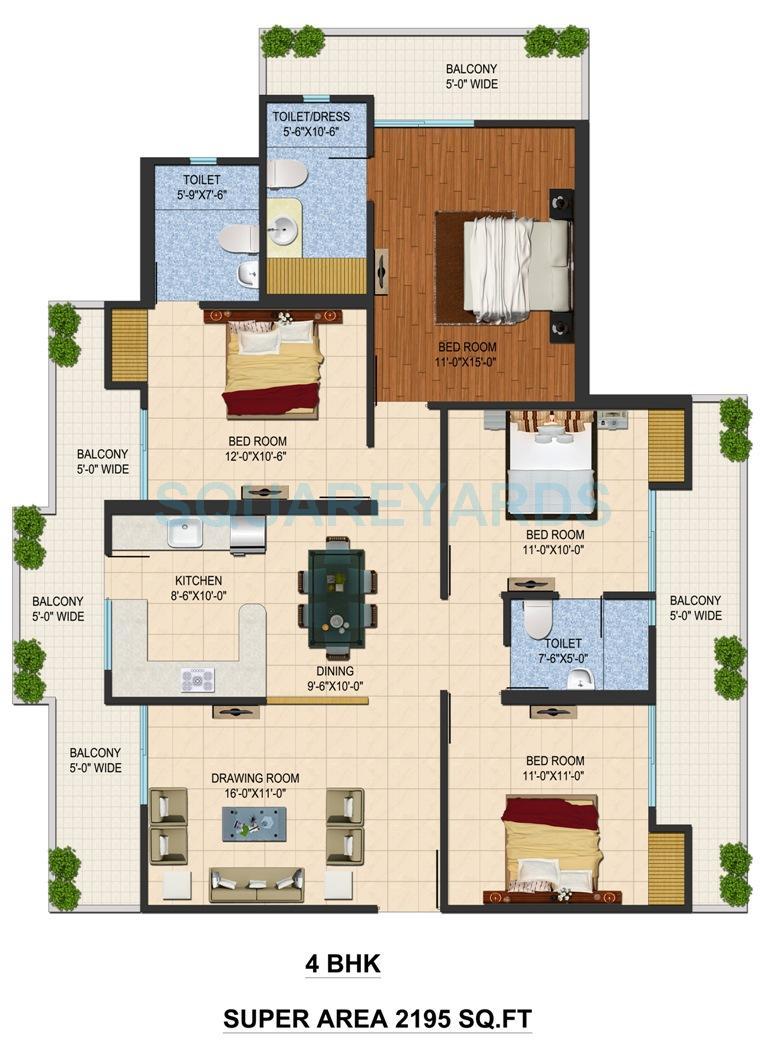 sarvottam shree apartment 4bhk 2195sqft 1