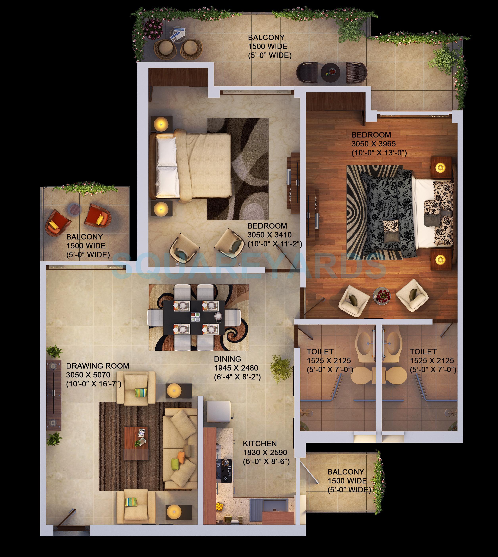 saya gold avenue apartment 2bhk 1080sqft 1