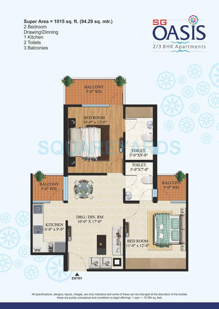 sg oasis apartment 2bhk 1015sqft1