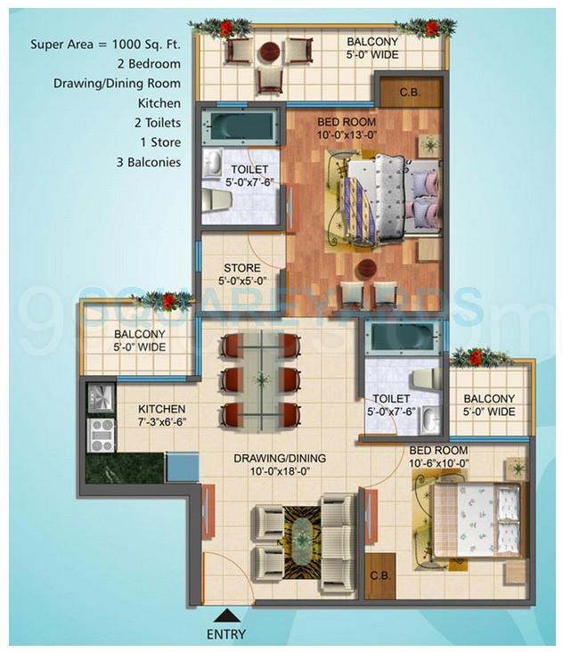sg sg grand apartment 2bhk 1000sqft1