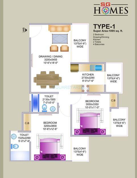 sg sg homes apartment 2bhk 1095sqft1