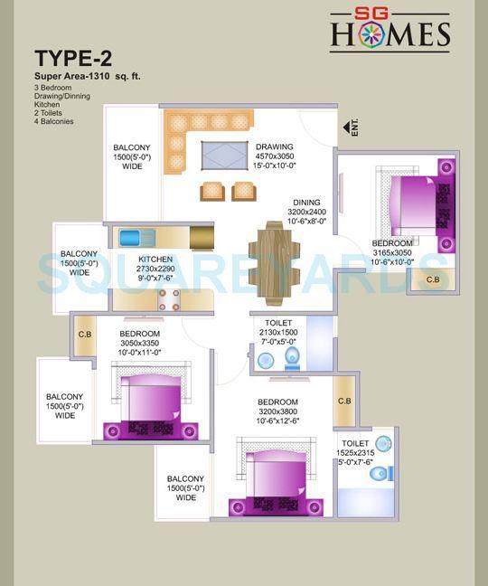 sg sg homes apartment 3bhk 1310sqft1