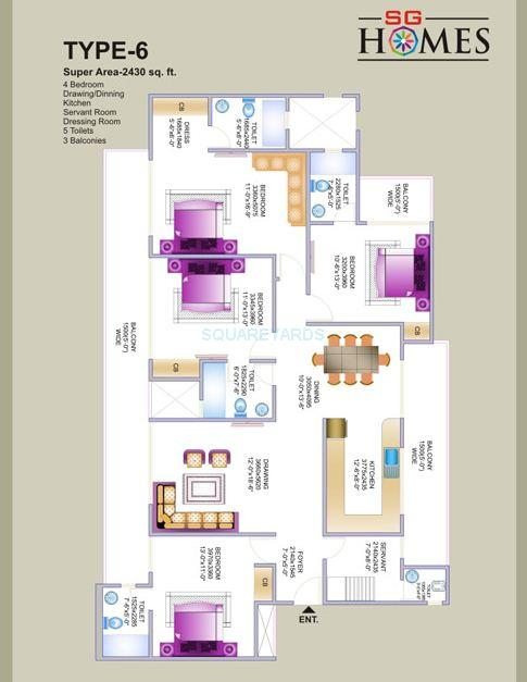 sg sg homes apartment 4bhk 2430sqft1