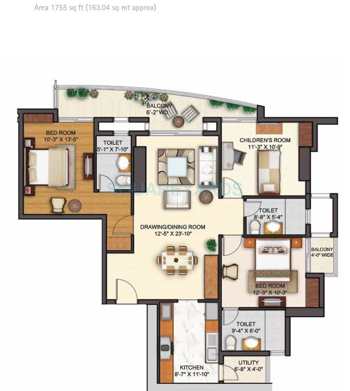 shipra sky city apartment 3bhk 1755sqft 1