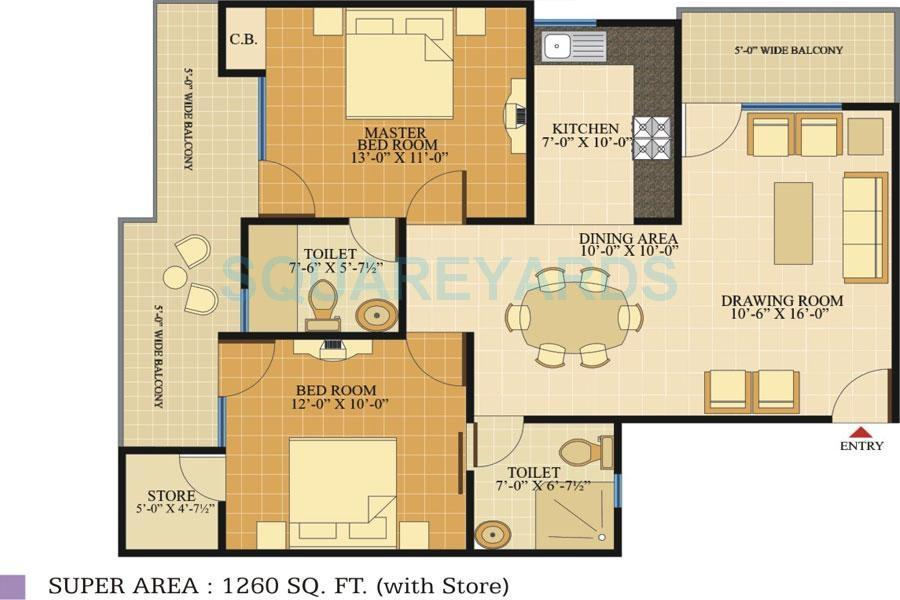 svp group gulmohur tower apartment 2bhk 1260sqft1