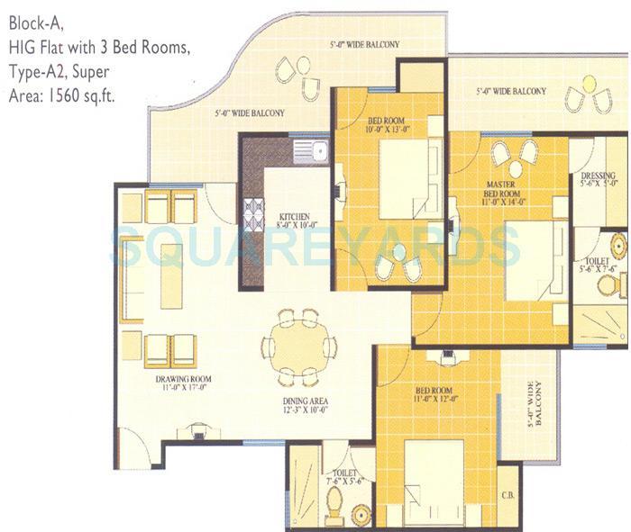 svp group gulmohur tower apartment 3bhk 1560sqft1