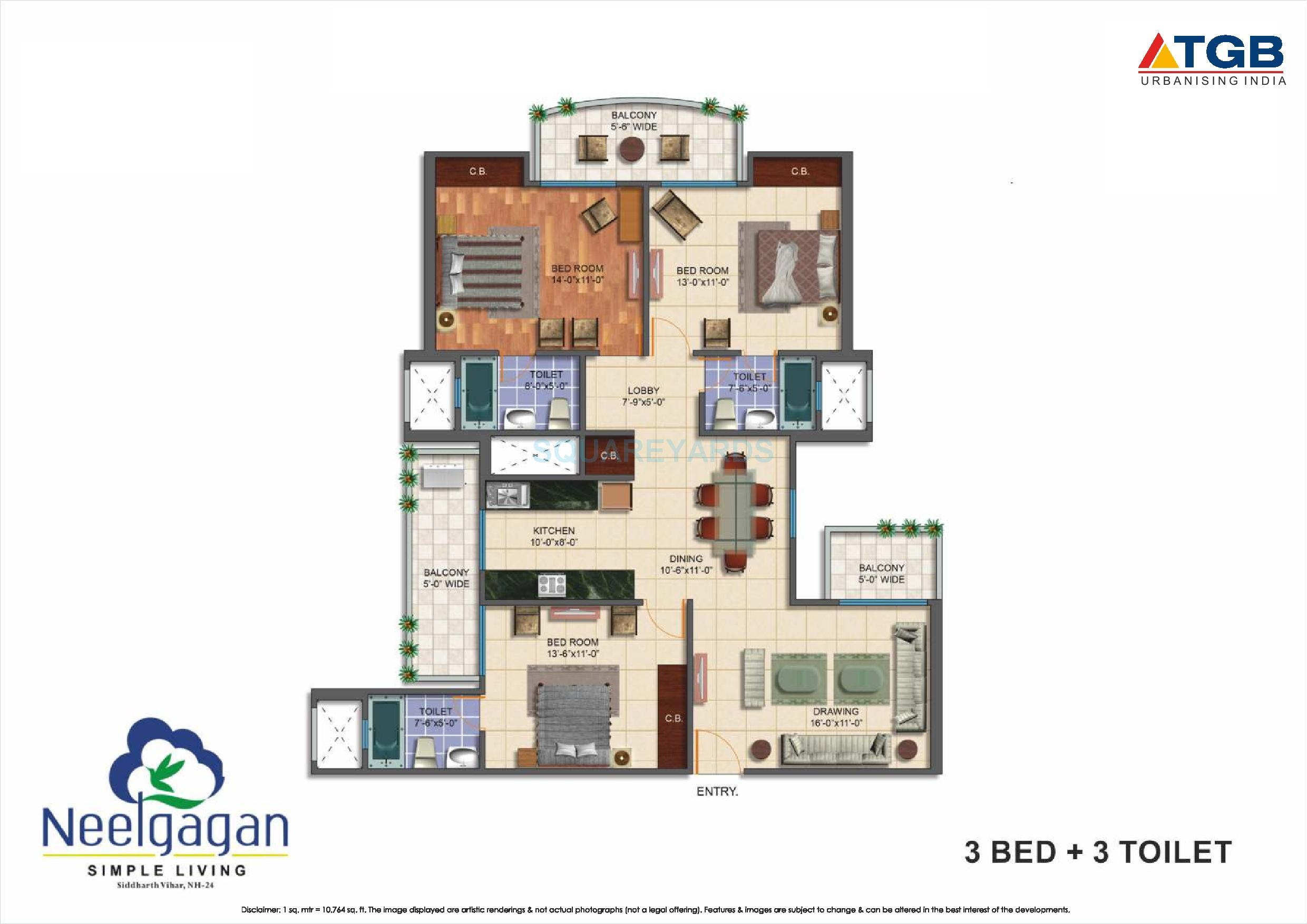 tgb neelgagan apartment 3bhk 1650sqft 1