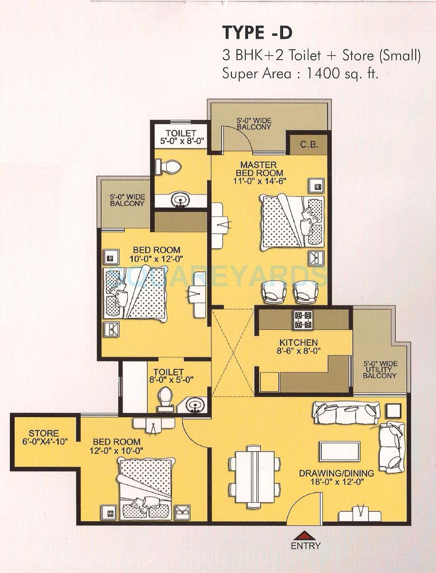 3 bhk 1400 sq ft apartment for sale in vvip addresses at rs