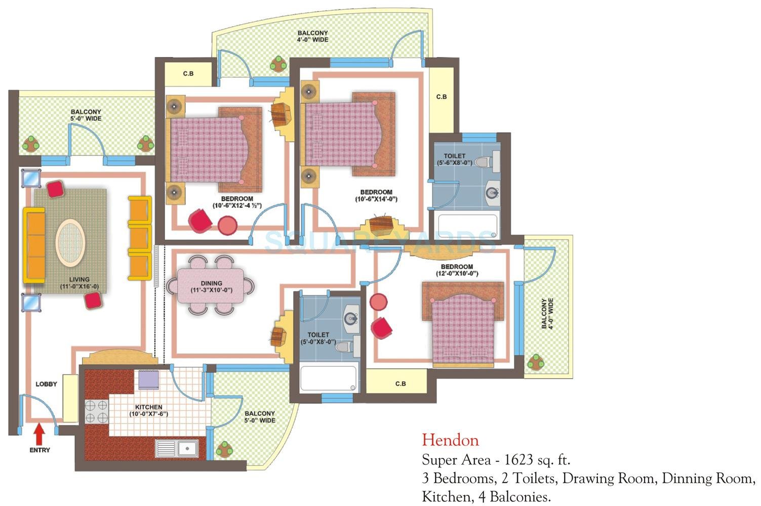 vxl retailors eastern gates apartment 3bhk 1623sqft1