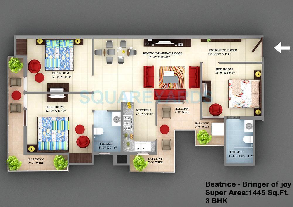 vxl retailors french arcade apartment 3bhk 1445sqft1