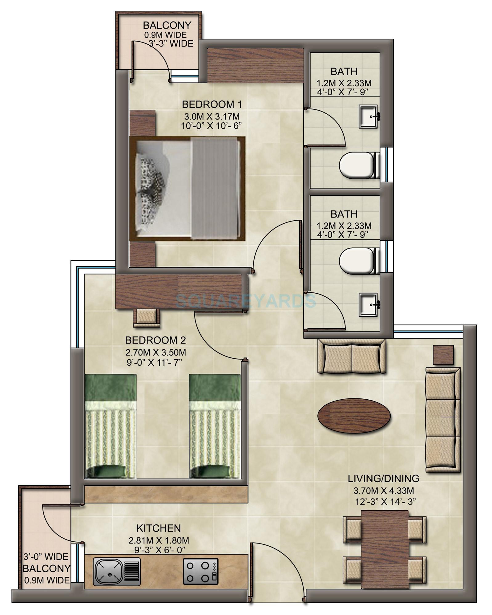 wave dream homes apartment 2bhk 808sqft1