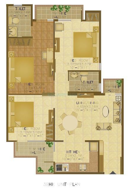 wave executive floors apartment 3bhk 1129sqft1