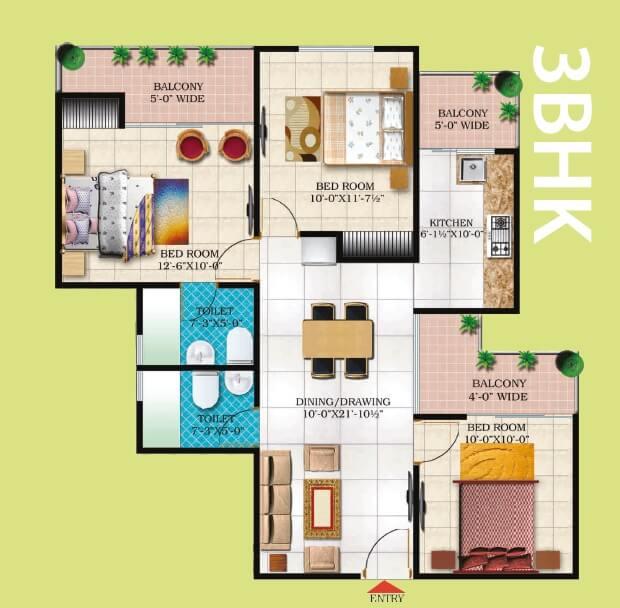 windsor paradise 2 apartment 3bhk 1275sqft 1