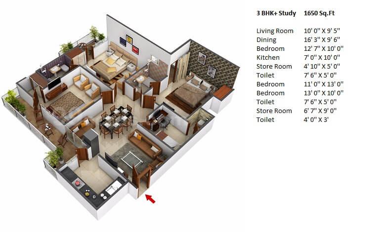 windsor paradise 2 apartment 3bhk st 1650sqft 1