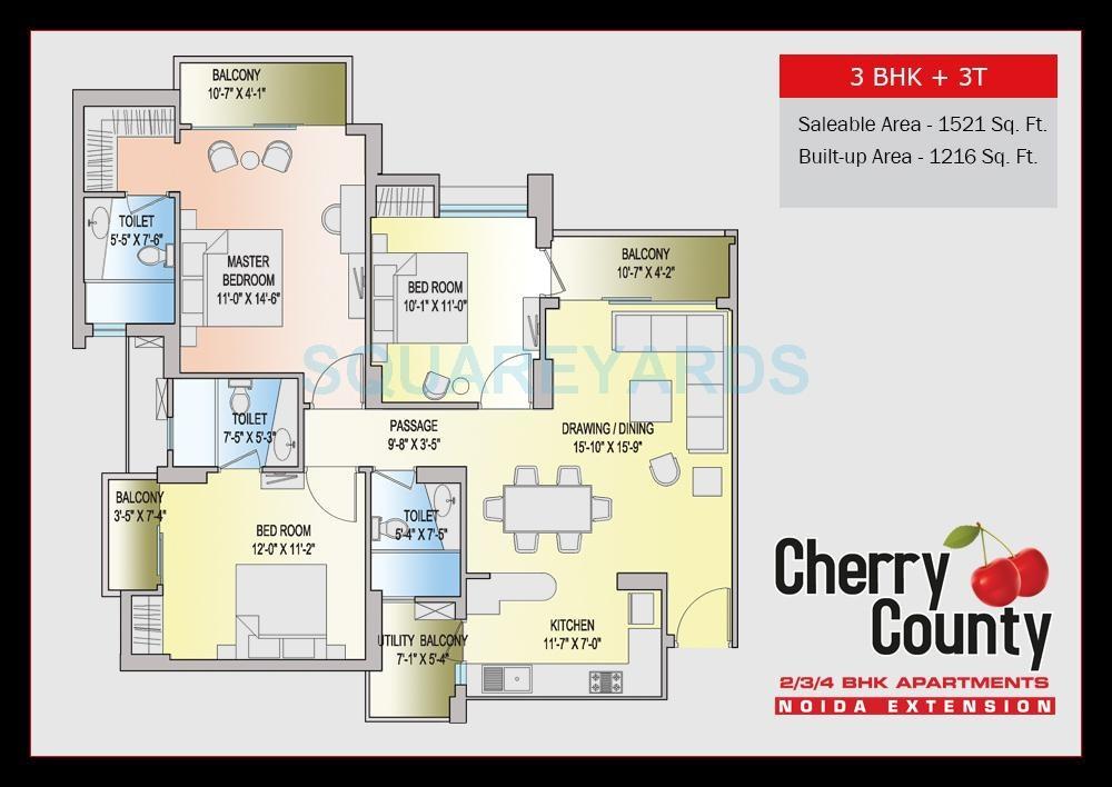 aba cherry county apartment 3bhk 1521sqft 51