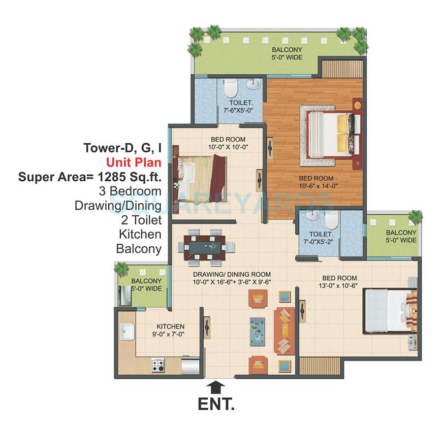 3 Bhk 1285 Sq Ft Apartment For Sale In Ajnara Le Garden At Rs 3690 Sq Ft Greater Noida