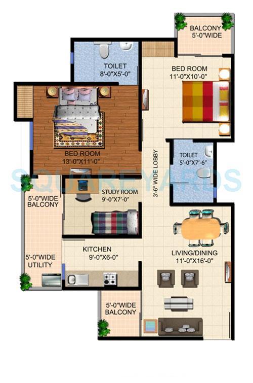 ajnara panorama facing f1 apartment 2bhk 1155sqft 1