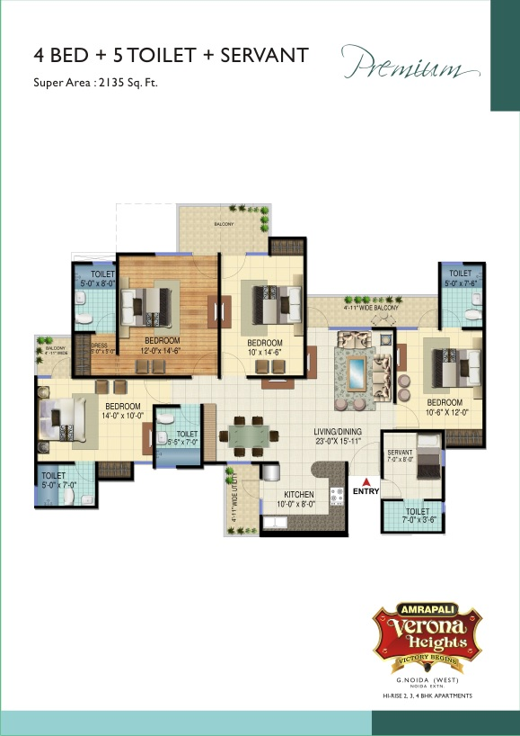 4 Bhk 2135 Sq Ft Apartment For Sale In Amrapali Verona Heights At Rs 2780 Sq Ft Greater Noida
