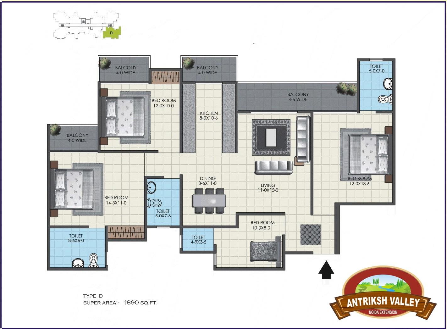 antriksh valley apartment 4bhk 1890sqft 51
