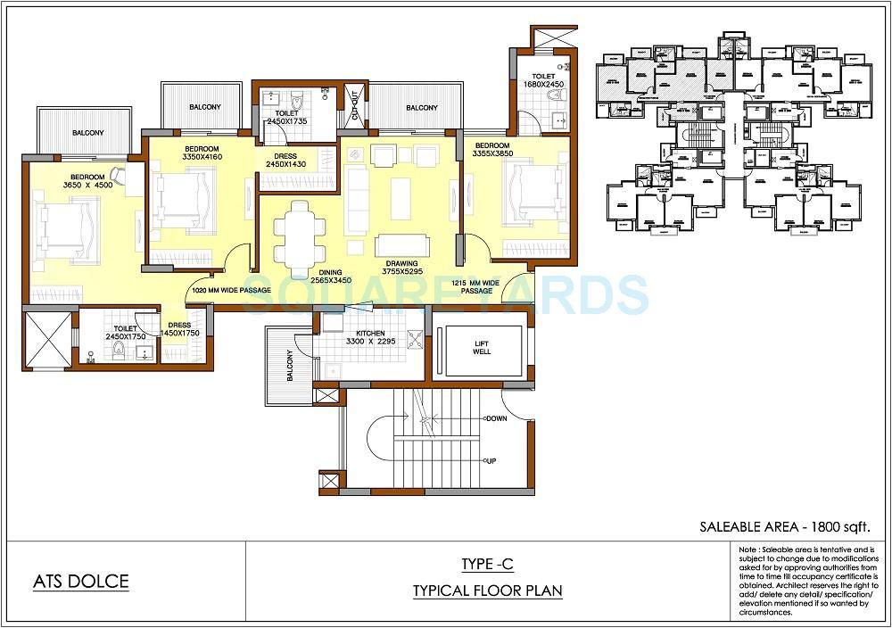 ats dolce apartment 3bhk 1800sqft 1