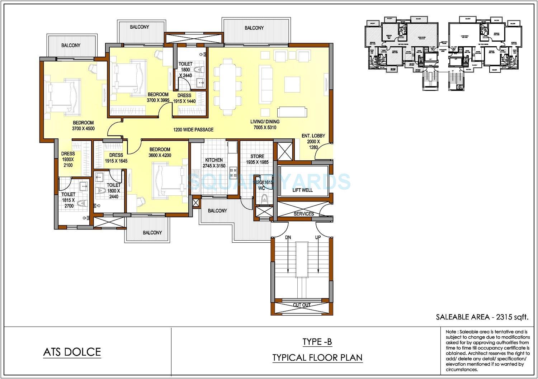 ats dolce apartment 3bhk sq 2315sqft 1