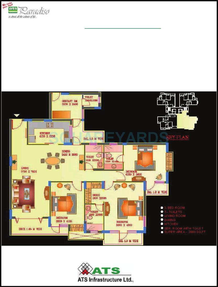 ats paradiso apartment 3bhk sq 2000sqft 1